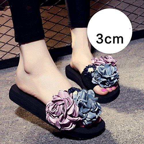 TONGS SANDALES Sandales et pantoufles d'été femme Chaussures décontractées Chaussures de plage de 18 à 40 ans élégant 3cm-Pink