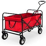 Deuba Bollerwagen Faltbar Handwagen Gerätenwagen | Vollgummireifen | Leichter und Schneller Aufbau | Rot