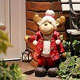 Dszapaci Weihnachtsdeko Figur Elch Deko Weihnachten XL 48cm mit Laterne für Teelicht am Hauseingang Rentier Rudolph Beleuchtet