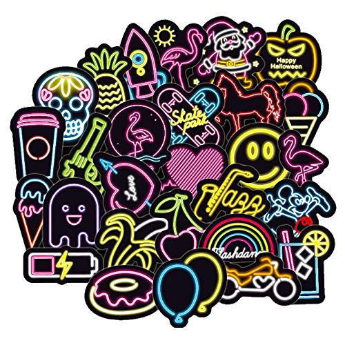 Inveroo 100pcs/pack Neon Light Stickers Anime Icon Kids Toy Cute Decals Sticker Für DIY Gepäck Laptop Skateboard Moto Fahrradsticker