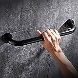 Handtuchhalter aus Edelstahl,Edelstahl im europäischen Stil perforierte Handlauf schwarz Bad Griff Anti-Rutsch-Geländer Badewanne behinderte ältere Menschen, B40 cm
