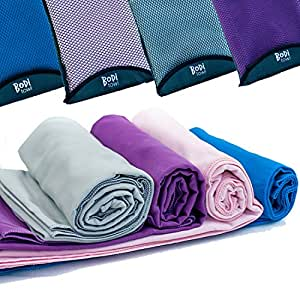 Quick Dry Towel - Lightweight - Highly Absorbent - Compact - Travel - Soft Microfibre - 100% Moneyback Guarantee - Large - Best For Yoga Pilates Bikram Beach Sports Gym And Swimming - Includes *FREE* Storage Bag *FREE* Weight Loss E-Book, Grey