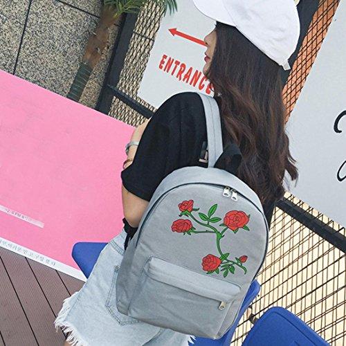 lo zaino , feiXIANG 2017 Donna ragazze Canvas Rose fiori preppy stile scuola borsa zaino borsa viaggio (rosso) grigio