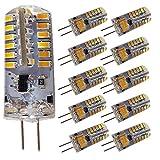 10 Stück - G4 LED Lampen, 4W AC DC 12V 140LM, 48 x 3015 SMD-LEDs, Ersatz 35W Halogenlampe, Warmweiß