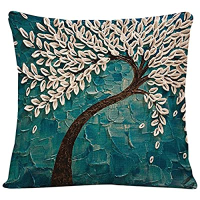 Bluelans® Oil Painting Large Tree and Flower Cotton Linen Throw Pillow Case Cushion Cover Home Sofa Decorative 18 x18 Inch