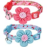 Blueberry Pet Pack of 2 Spring Gift Cat Collars, Lovely Cherry and Floral Prints Adjustable Breakaway Cat Collar with Flower & Bell , Neck 23cm-33cm