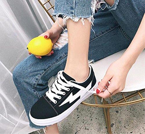 Scarpe classiche alla moda classiche della tela di canapa della tela di canapa femminile dei pattini degli allievi piani degli allievi di piccola dimensione, formato 35-38 black