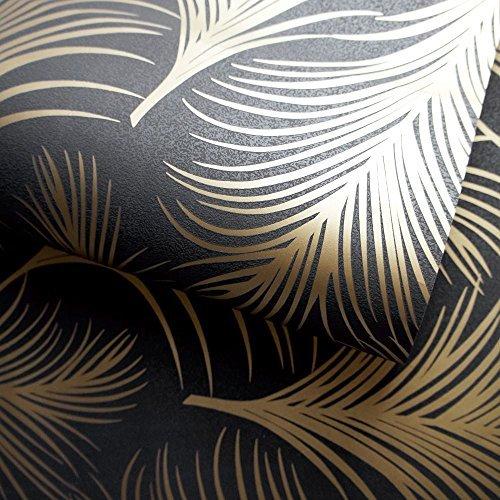 HOLDEN metallisch Feder Muster Tapete Blattmotiv modern texturiert exklusiv - 50082 schwarz gold (Schwarz Gold Tapeten)