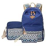 Schulrucksack + Kühltasche + Mäppchen Schultaschen 3 Set aus Canvas für Jungen Mädchen in der Schule Freizeit Dunkelblau