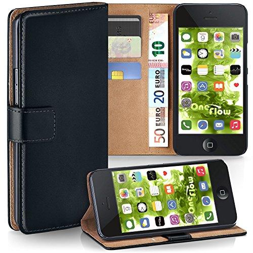iPhone 5S Hülle Schwarz mit Karten-Fach [OneFlow 360° Book Klapp-Hülle] Handytasche Kunst-Leder Handyhülle für iPhone 5/5S/SE Case Flip Cover Schutzhülle Tasche