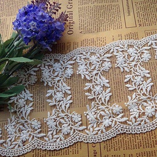Ivory Elfenbein 12,7cm breit Bilaterale Blumen Bestickter Mesh Spitze Kleid Taille Dekoration Halsband Shirt von 3Meter