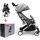 Babythrone Barnvagnar barnvagn lätta barnvagnar kompakt barnvagn resa barnvagn hopfällbar barnvagn säker och bekväm (grå)