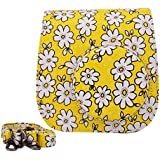 Sunmns Lovely Flower Denim Fabric Camera Case Bag With Shoulder Strap For Fujifilm Instax Mini 8/ 8+ Instant Camera, Yellow