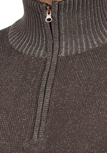 INDICODE Nathen Herren Strickpullover Feinstrick Pulli Troyer mit Stehkragen aus hochwertiger Baumwollmischung Meliert Dark Brown (020)