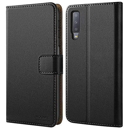 HOOMIL Handyhülle für Samsung Galaxy A7 2018 Hülle, Premium Leder Flip Schutzhülle für Samsung Galaxy A7 2018 Tasche, Schwarz -