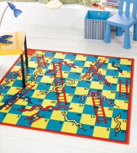"""Preisvergleich Produktbild Kiddy Schlangen und Leitern Spiel waschbar, Hardwear Kinder Teppich, 135 x 135 cm (4 """"4"""" x 12.70 cm 12.70 cm) quadratisch, Teppich"""