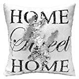Mermaid Pillow Case, Play Tailor Magic Reversible Sequins Pillow Cover Throw Cushion Case 40x40CM (White Silver with Home)