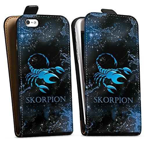 Apple iPhone X Silikon Hülle Case Schutzhülle Sternzeichen Skorpion Scorpion Downflip Tasche schwarz