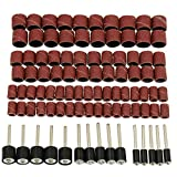 HSeaMall 165PCS Lijadoras de tambor 120Grits Ruedas de lijado de tambor rotatorio Bandas Brocas rotativas con mandriles de tambor