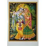 Bild Radha & Krishna 50 x 70 cm Gottheit Hinduismus Kunstdruck Plakat Poster Gold Indien Hochglanz Dekoration