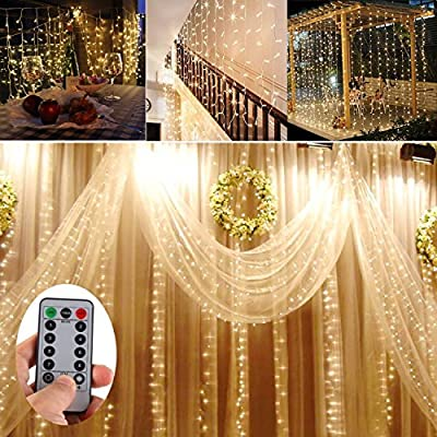 30 Meter Warm White 300 LED Outdoor & Indoor Battery Fairy Lights w/ Remote & Timer,Waterproof (8 Modes, 4 x AA batteries, Dimmable, Dark Green Cable) - low-cost UK light store.