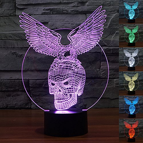Eagle Flat (3d Eagle Skull der Nacht Tischleuchte verstellbar 7Farben LED 3d Creative Stereo Touch Switch Visual Atmosphäre Geschenk für Weihnachten)