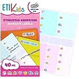 ETIKIDS 40 Etiquetas adhesivas, con iconos de fantasía, laminadas personalizables multiusos (Funny Fantasia)