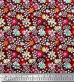 Soimoi Rot Poly Georgette Stoff Blumen Clip Art Stoff