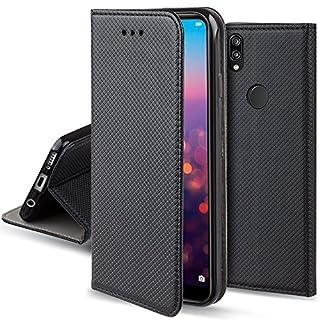 Moozy Hülle Flip Case für Huawei P20 Lite, Schwarz - Dünne magnetische Klapphülle Handyhülle mit Standfunktion