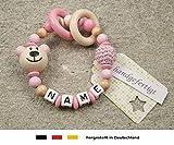 Baby Greifling Beißring geschlossen mit Namen | individuelles Holz Lernspielzeug als Geschenk zur Geburt & Taufe | Mädchen Motiv Bär in babyrosa
