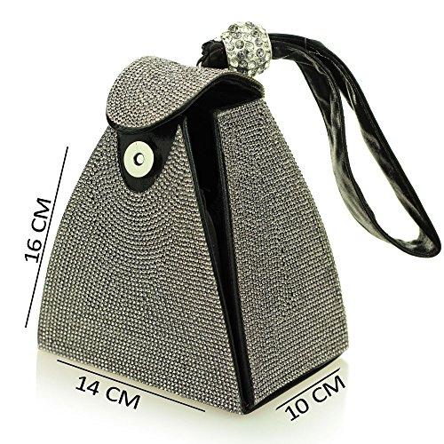Femmes dames soir Sac à main diamante bracelet mariage prom poche forme (Or, Argent, Noir, Champagne) Noir