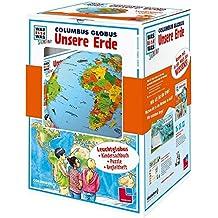"""WAS IST WAS Junior: Columbus Globus-Set """"Unsere Erde"""". Leuchtglobus d 26 cm, Buch, Europa-Puzzle, Begleitheft"""