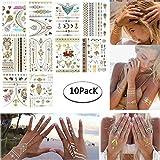 Tattoo Tätowierung Metallic Tattoos Temporäre Tattoo Aufkleber Glitzer Tattoo 10 Sheets für Frauen Jugendliche Mädchen MEHRWEG (Mexiko-Stil)