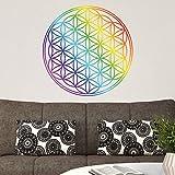 PPS. Imaging Wand Aufkleber Blume des Lebens Regenbogen Farbe, Wandtattoo, Wandaufkleber, Tattoos, Wand Aufkleber, Maße: 50cm x 50cm