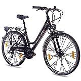 28 Zoll ALU Cityrad Trekkingrad Damenrad Damenfahrrad KCP ESTREMO mit 21G SHIMANO & Nabendynamo schwarz