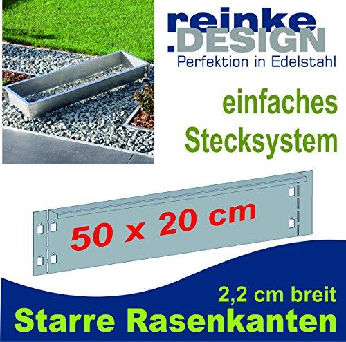 Reinkedesign Rasenkante aus Edelstahl starr 50 cm x 20 cm mit Sichtkante