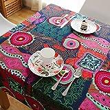 Nclon Ethno-Stil Vintage Tischdecke,Mittelmeer Baumwolle Hanf Esstisch Coffee Table Tischdecke Exotische Tischtuch Tischwäsche-Rosa 140 * 200cm