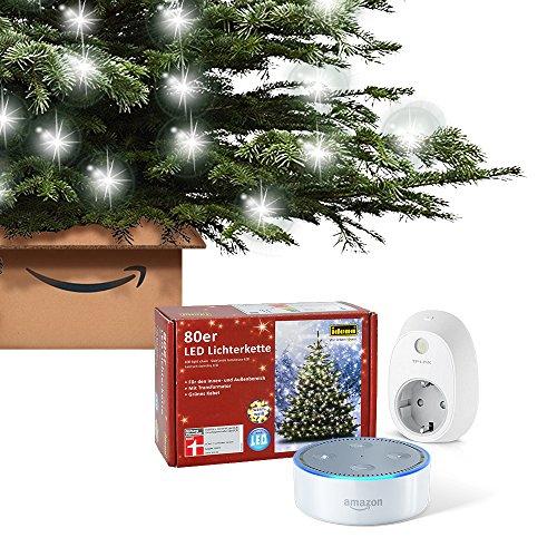 Dein smarter Christbaum: Set bestehend aus Amazon Echo Dot (2. Generation), Weiß + TP-Link Smart Steckdose + Echte Nordmanntanne (100-120 cm) + 80er LED Lichterkette