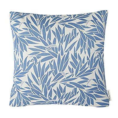 """Mika Home Jacquard Leaf Pattern Accent Throw Pillow Case Decorative Cushion Cover for 18X18"""" Inserts Blue Cream - inexpensive UK light store."""