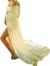 D-Pink Damen Schwanger Lange Chiffon Kleider Mutterschaft Fotografie Kleidung Maxikleid