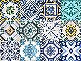 Sirface Traditionnel Espagnol Tile Stickers–Ensemble de Stickers pour carrelage pour Cuisine et Salle de Bain–Lot DE 24–Différents, 6x6 inches | 15x15 cm