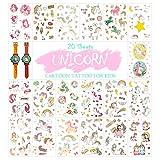 20 fogli di tatuaggi temporanei a forma di unicorno per bambini rimovibili adesivi per ragazzi ragazze e bambini tatuaggi perfetti per feste di riempimento (unicorno)