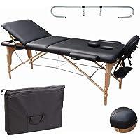Beltom Table de Massage 3 Zones Noir + Porte Rouleau Cosmetique lit esthetique Pliante