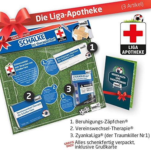 ZÄPFCHEN® Geschenk-Set: 2 - Die Liga-Apotheke für S04-FANs   Für Fans von FC Schalke 04 Trikots, Home Away Stutzen Shorts Hoodie