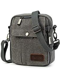 Koolertron Men's Shoulder Bag Canvas Retro Classic Sports Zipped Boy Over Shoulder Bag Small Lightweight Long Strap for Phone iPad Mini Kindle