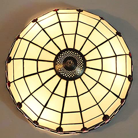 16-Inch European Retro Style Tiffany Stained Glass Flush Mount Ceiling