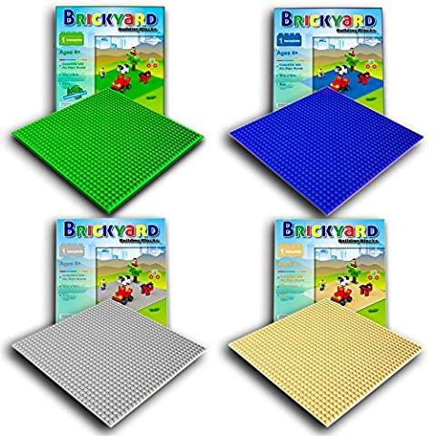 Brickyard Building Blocks Assorted Baseplates, Large Thick Base Plates for Building Bricks, for Activity Table or Displaying Compatible Construction Toys (Green, Blue, Grey, Sand - 4-Pack, Assorted)