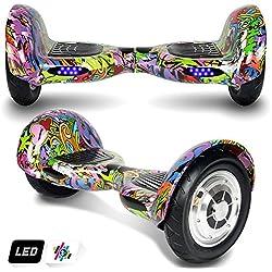 Hoverboard,10 Pollici Scooter Elettrico Auto-bilanciamento,Smart Monopattino Elettrico Autobilanciato con 2 * 350W Motore,Self Balance Scooter Skateboard con LED
