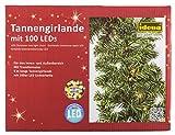 Idena Tannengirlande mit 100 LED, warm weiß für Innen und Außen, 5 m Länge, grün, 31814