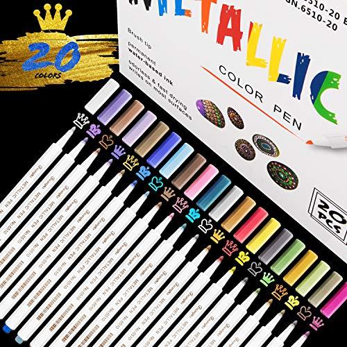 RATEL Acrylstifte Marker Stifte, 20 Farben Wasserfeste Stifte Metallic Marker Stifte Permanent Marker Paint Pens Schnelltrocknend Premium Metallischen Stift Pens für DIY Fotoalbum, Stein, Keramik